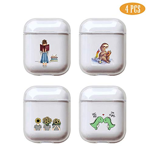 (Reading Books 4 Pcs Clear Hard Plastic Case Full Protective Cover Skin Compatible with AirPods 2 & 1)