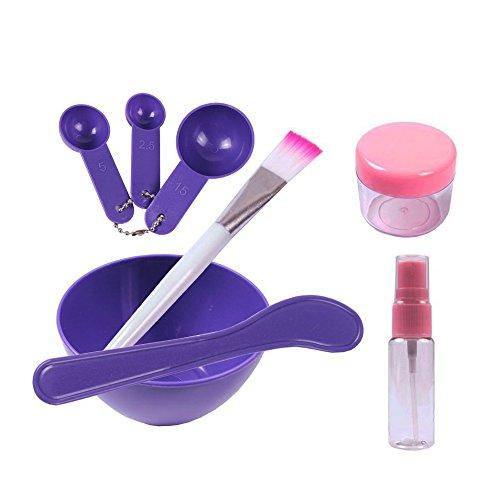 : Teenitor Lady Facial Care Mask Facemask Mixing Tool Sets, Bowl Stick Brush Gauge 8 in 1 Set Purple