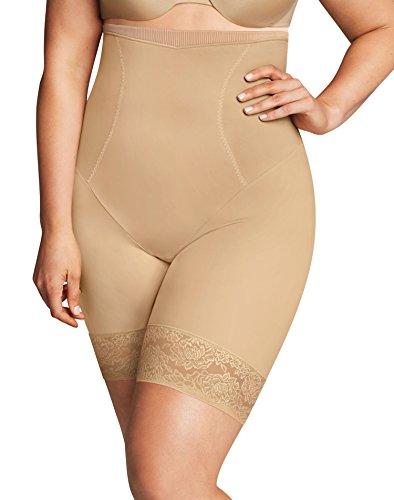 Flexees Women's Maidenform Curvy Firm Foundations Hi Waist Thigh Slimmer, Body Beige, 3X Large