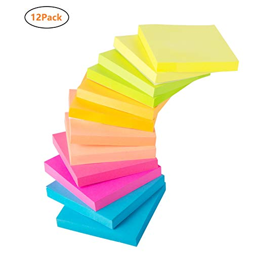 Upgraded Sticky Notes - 3 x 3 Inches, 100 Sheets/Pad, Handyhoffice 6 Bright Colors Self-Sticky Notes, Suitable for Glass, Screen, or Any Flat Dray Solid Surface, 12 Pads