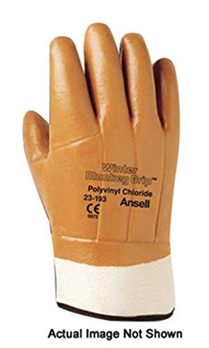 Ansell Winter Hi-Viz 23-491 Orange 10 Jersey Mechanic's Gloves - Wing Thumb - PVC/Vinyl Full Coverage Coating - 205309 [PRICE is per PAIR]