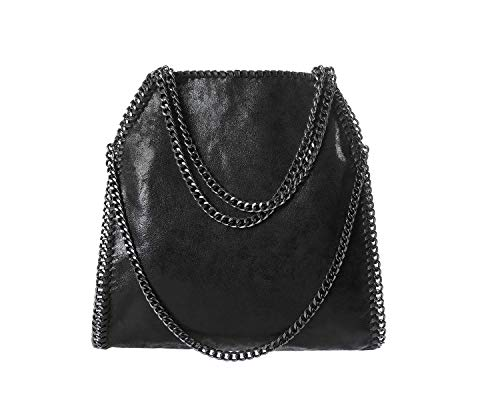 ANONE Women Chain Strap PU Leather Shoulder Bag Purse (one size, Black)