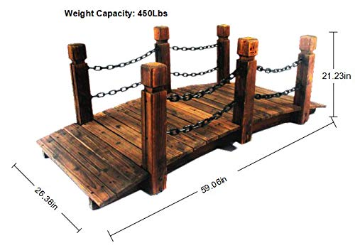 PierSurplus Rustic Wood Garden Bridge with Posts and Double Metal Chain Hand Rails Product SKU: PL54205 by PierSurplus (Image #2)