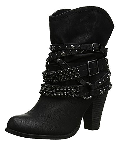 Neve Da Inverno Stivaletti Rivetto Scarponi Sexy Nero Minetom Stivali Donna Casual Boots Tacco Alti Con Tacchi Elegante Scarpe Moda qXwpxCfC