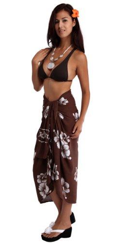 donna la costume da bagno World fiori colore 1 pareo da Brown White ibisco Dark in Wf scelta di near tua gtq47