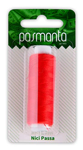 Strong Polyester Pro Sewing Thread, Many Colours Finest Spools, Universal All Purpose Hand and Machine Sewing, 200m - 220yd Coil Reel, by Pasmanta Made in Europe Since 1953 (5616 - red)