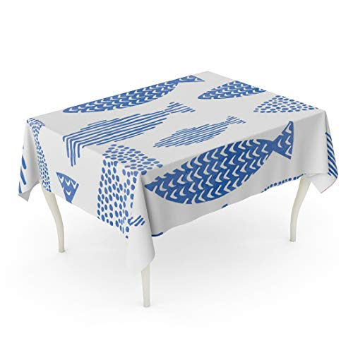 Fish Indigo - Tarolo Rectangle Tablecloth 52 x 70 Inch Japan Light Watercolor Indigo Blue Fishes Seamlessly Tiling Fish Pattern Sea Life Aqua Ocean Table Cloth