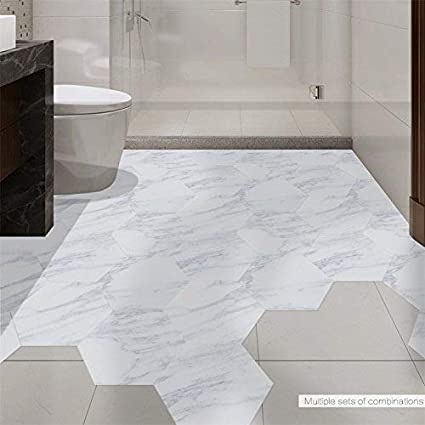 GanDecor Marble Effect Hexagon Shape Wall Sticker Floor Tiles Decal Peel  And Stick DIY Kitchen Bathroom