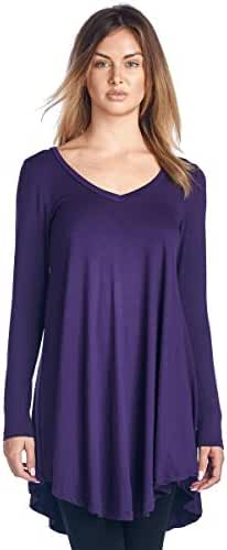 Popana Women's Tunic Tops For Leggings - Long Sleeve Vneck Shirt - Regular and Plus Size - Made in USA