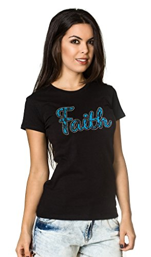 Living Water Women's Lace Rhinestones Crystals Christian Jesus T-Shirt Faith Tee -