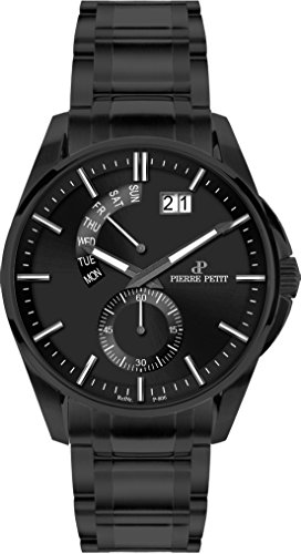 Pierre Petit Men's P-793F Le Mans Luminous Big Date Black IP Stainless Steel Bracelet Watch