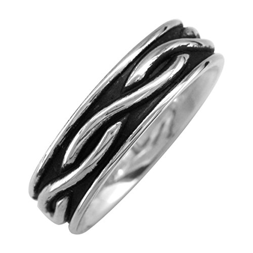 Infinity Wedding Band with Black in Sterling Silver, 6mm size 12.5 by Sziro Infinity Wedding Bands
