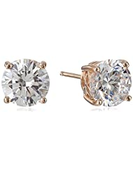 Platinum or Gold-Plated Sterling Silver Swarovski Zirconia (4cttw) Round Stud Earrings