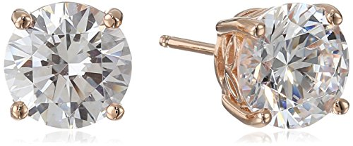 (Rose Gold Plated Sterling Silver Stud Earrings set with Round Cut Swarovski Zirconia (4 cttw))