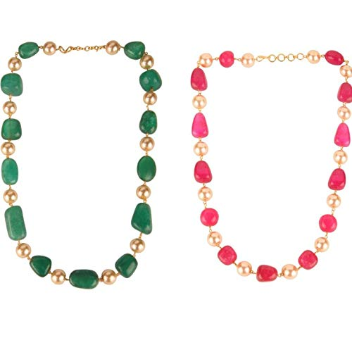Emerald Green Tourmaline Tumble with Yellow Pearl Gemstone Fancy Beaded Mala Stylish Chain Necklace for Girl and Women