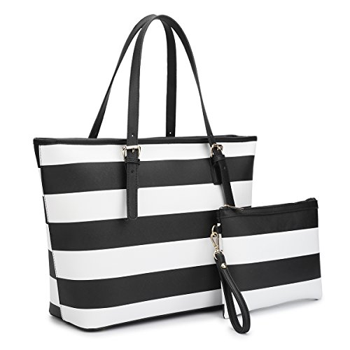 Dasein Women's Designer Large Laptop Top Handle Structured Tote Bag Satchel Handbag Shoulder Bag Purse (7326 Stripes Black/White) (Striped Womens Handbag)