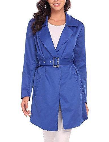 vent Parka avec Manteau Coat ceinture Femme Long Royal Coupe Slim Trench Veste Zeela Bleu wqfXBzaX