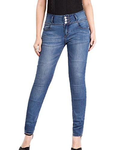 Denim Hiver Femme Taille Crayon Push YuanDian Slim Automne Up Avant Mode Haute Jean Casual Grande Fit Stretch Pantalons Cigarettes Bleu Skinny Boucle Taille AdqRwxFw