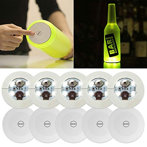 10Pcs LED Bar Coaster,LED Stickers,Light Up Bar Coasters For Drinks,Cup Holder Lights For Wine Liquor Bottle,Perfect For Party,Wedding,Bar (Cold white)
