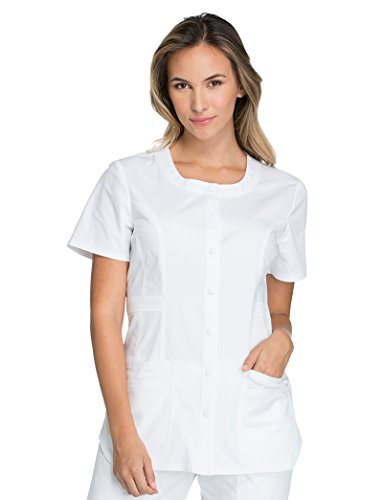 - Cherokee Core Stretch by Workwear Women's Round Neck Solid Scrub Top Large White