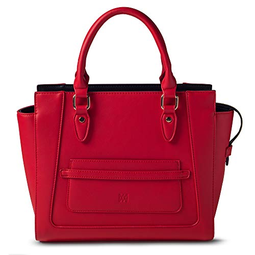 Marsi Bond Designer Womens Handbag - Top Handle Vegan Leather Tote Purse - Red with Black