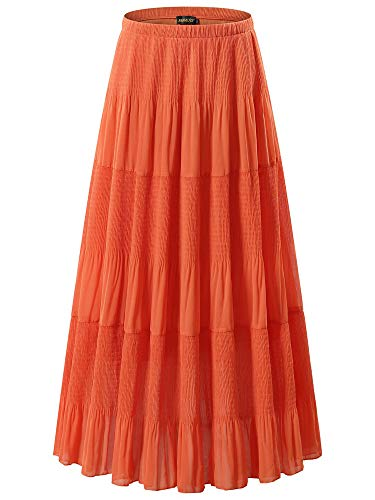 NASHALYLY Women's Chiffon Elastic High Waist Pleated A-Line Flared Maxi Skirts (2XL, Orange)