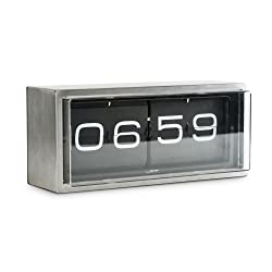 wall/desk clock brick stainless steel 24h black