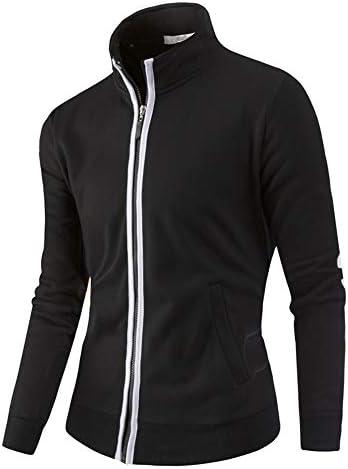 Realdo Mens Outdoor Jacket Solid Zipper Sport Wear Fitness Warm Tracksuit Thick Coat Top Black