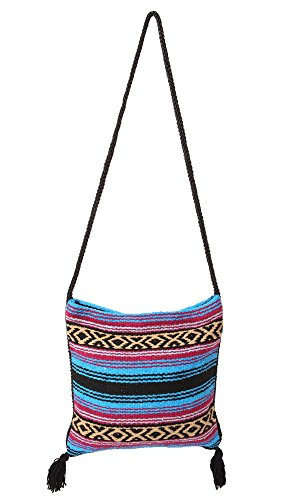 (Peyote Style Carry On Shoulder Bag Beautiful Hand-Woven Acrylic Mexican Serape Design in Vivid Colors (Fiesta B))