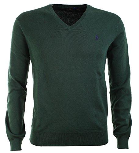 ralph-lauren-mens-polo-v-neck-pima-cotton-pony-logo-sweater-new-forest-m