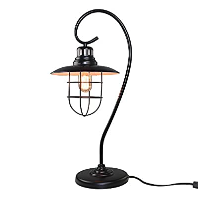 LNC Iron Glass Vintage Industrial Table Lamp