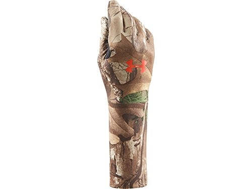 Under Armour Coldgear Liner Glove - Under Armour Boys' Youth Camo ColdGear Liner Gloves, Realtree Ap-Xtra /Dynamite, Youth Large