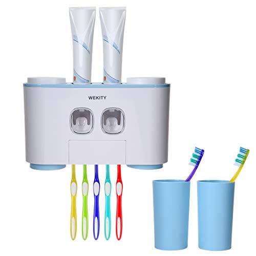 - Wekity Toothbrush Holder Multifunctional Wall-Mounted Space-Saving Toothbrush and Toothpaste Squeezer Kit with Dustproof Cover, 5 Toothbrush Slots, 2 Automatic Toothpaste Dispenser and 4 Cups (Blue)