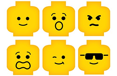 Minifig Heads Emotion Face Wall Decor Vinyl Decal Digital Print Graphic for You Kids Brick Theme Room 2469 (Med - 23 x 16.5 (7.7in ea)) (Decor Vinyl Decal)