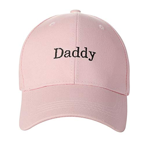 Home Fashion DIY Daddy Script Font Embroidered Cotton Baseball Cap Adjustable Dad Hat (Pink-Daddy 2)