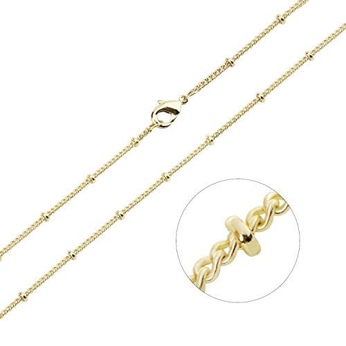 - Wholesale 100 PCS Gold Plated Solid Brass Satellite Beaded Ball Curb Thin Chain Necklace Bulk for Jewelry Making 18-30 Inches(26 Inch (1.5MM))