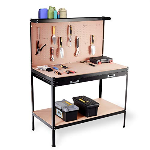 Giantex Workbench W/Drawer, Tool Hook and Peg Board Wood Steel Garage Tool Table for Home Workshop Storage Tools