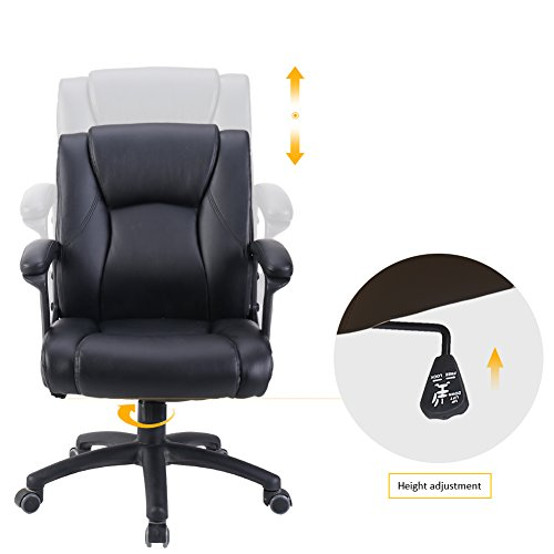 BERLMAN Ergonomic PU Leather Mid Back Executive Office Chair with Adjustable Height, Computer Chair Desk Chair Task Chair Swivel Chair Guest Chair Reception Chairs Black