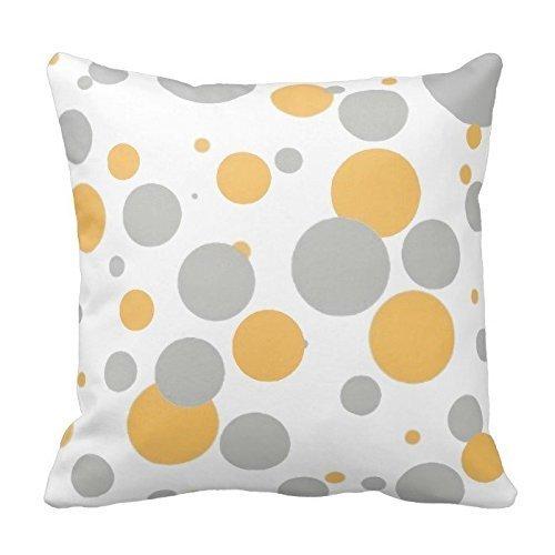 Custom fundas de cojín gris y amarillo diseño de lunares ...