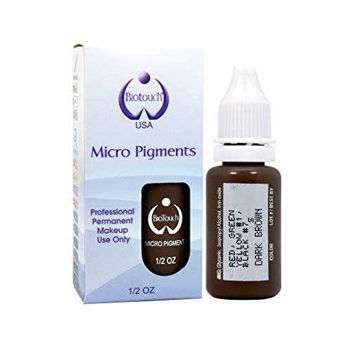 Brown Bottle Eyeliner - 15ml MICROBLADING BioTouch DARK BROWN Cosmetic Pigment Color Tattoo Ink LARGE Bottle pigment professionally tested permanent makeup supplies Eyebrow Lip Eyeliner microblading supplies pigment