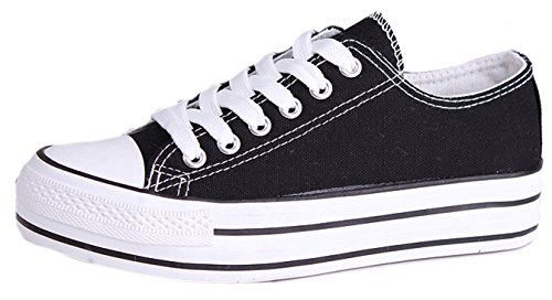 Top Platform Honeystore Black Fashion Canvas Flats Shoes Women's Lace Low up Sneakers xxFfnq