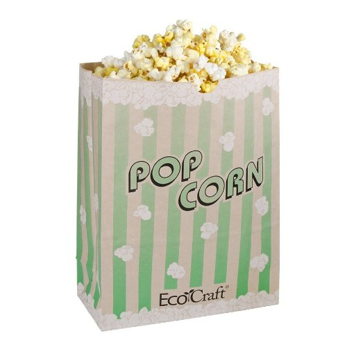 Bagcraft Papercon 300613 EcoCraft Theater Popcorn Bag with Green Stripe Design, 130 oz Capacity, 9-1/4'' Length x 7-1/2'' Width x 3-1/2'' Height (Case of 500)