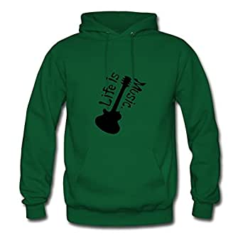 Life Is Music Txt Guitar Green Lightweight Designed Hot Hoody X-large Women