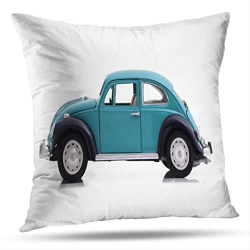 Geericy Vintage Car Decorative Throw Pillow Covers, UK Beetle Blue Model White Car Beetle Vintage Volkswagen Cushion Cover 18X18 Inch for Bedroom - Beetle Pillow