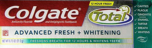 - Colgate Total Advanced Fresh + Whitening Gel Toothpaste - Travel Size .75 Ounce (24 Pack)