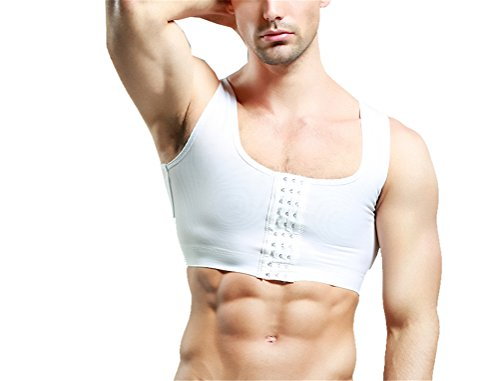 Gynecomastia Hide man-boobs Super Flat Breathable Compression Clasp Chest Binder (Small, White) (Best Bras For Gynecomastia)