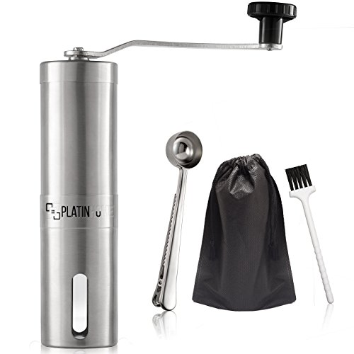 Stainless Steel Manual Coffee Grinder W/Ceramic Burr for Perfect Coffee Every Time - Quiet and Easy to Use, Perfect for Travel/Home - W/FREE Brush, Spoon, Pouch and E-book by PlatinHome by PlatinHome (Image #9)
