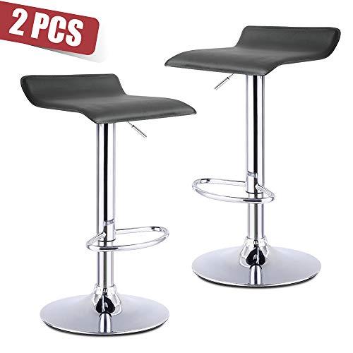 - Apelila Set of 2 PU Bar Stools - Height Adjustable Swivel Stools (2PC D-Black)