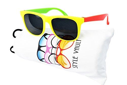 Kd3059-vp Style Vault Baby infant (0-12 months old) Wayfarer Sunglasses (B3387F yellow/neon orange/green, - Wayfarer Sunglasses Baby