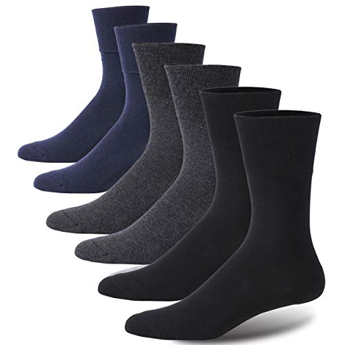 Forcool 6 Pairs Non Binding Cushion Crew Dress Cotton Diabetic Socks for Men and Women